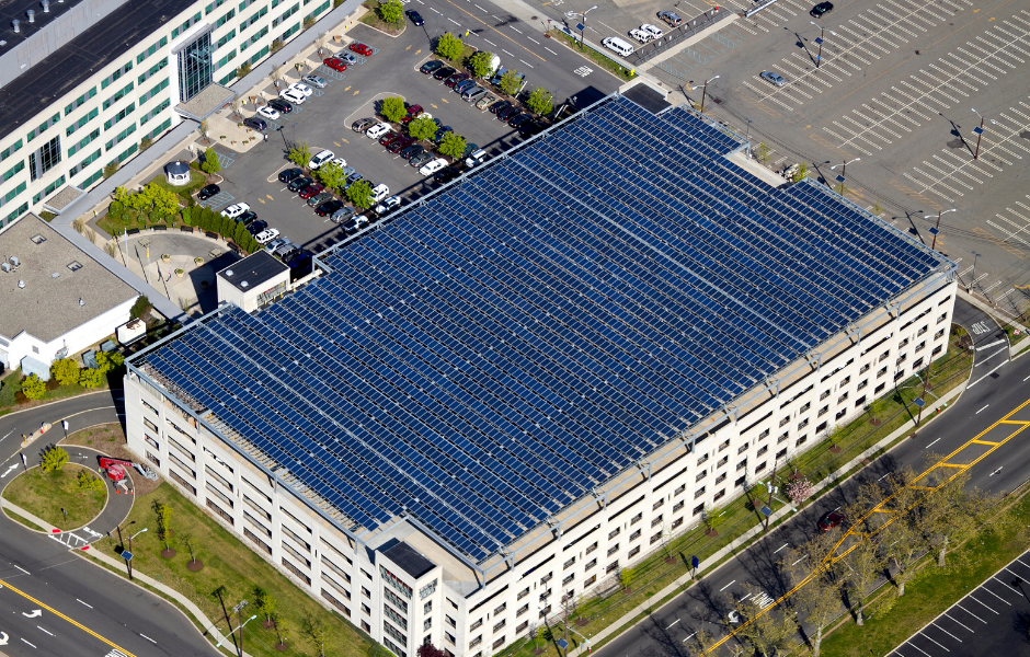 solar panels on the rooftop of a building